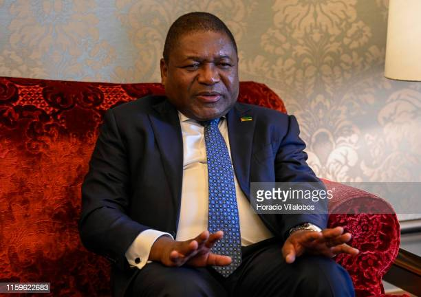 The President of the Republic of Mozambique, Filipe Nyusi, gestures while meeting with Portuguese President Marcelo Rebelo de Sousa in Belem...