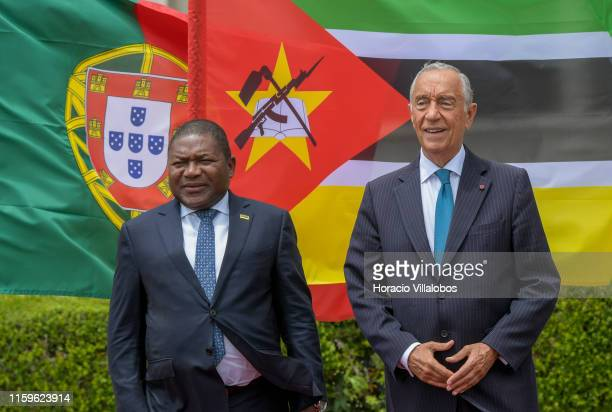 The President of the Republic of Mozambique, Filipe Nyusi , is greeted by Portuguese President Marcelo Rebelo de Sousa outside Jeronimos Monastery at...