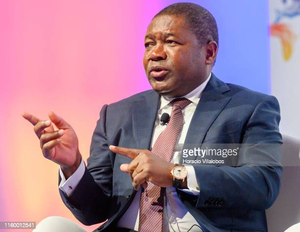 """The President of the Republic of Mozambique, Filipe Nyusi,delivers remarks onstage at """"A Conversation Between Presidents: Two-Voices Overview for the..."""
