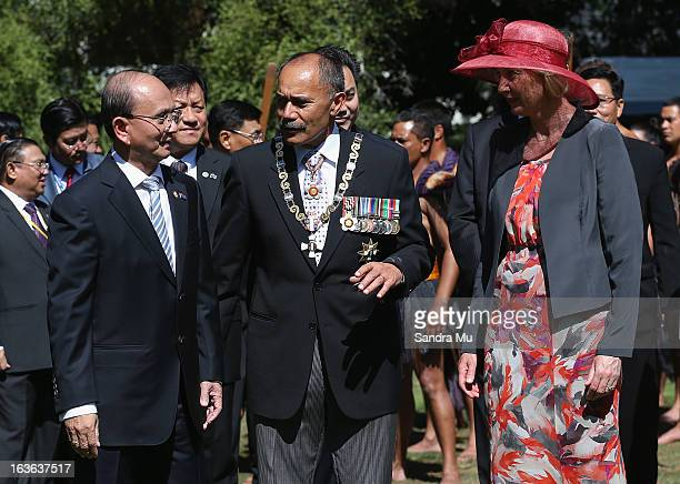 The President of the Republic of the Union of Myanmar His Excellency U Thein Sein is greeted by New Zealand GovernorGeneral Lt Gen The Rt Hon Sir...