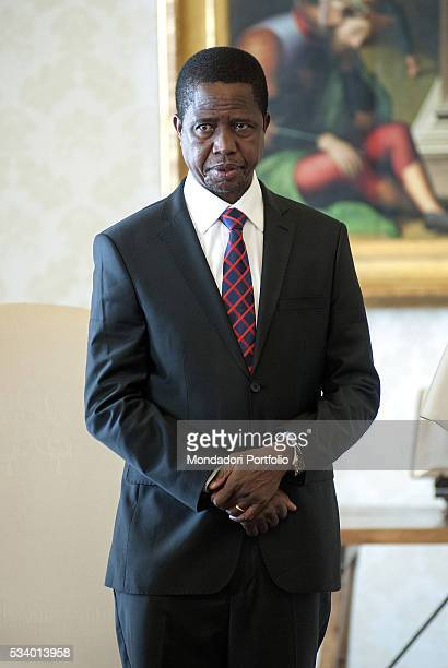 The President of the Republic of Zambia Edgar Lungu in private audience with Pope Francis in the Private Library of the Apostolic Palace Vatican City...