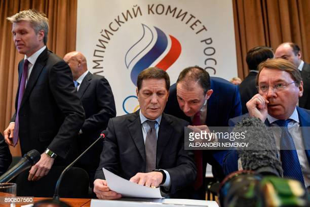 The President of the Russian Olympic Committee Alexander Zhukov prepares to start a meeting in Moscow on December 12 2017 on deciding how to respond...