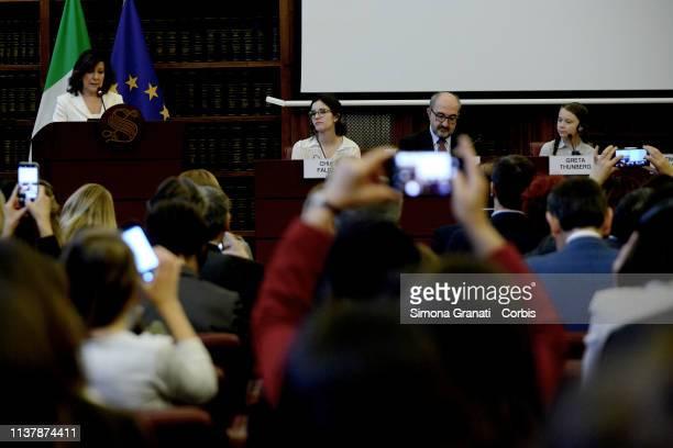 The President of the Senate Maria Elisabetta Alberti Casellati and swedish teenage climate activist Greta Thunberg take part in a seminar on climate...