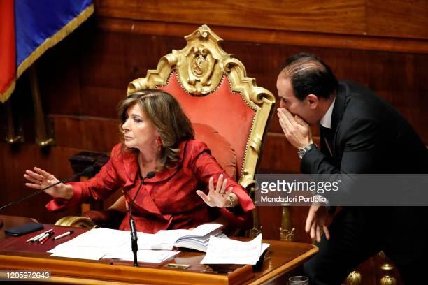 The President of the Senate Maria Elisabetta Alberti Casellati and the Italian politician Andrea Marcucci in the Senate Hall presented the general...
