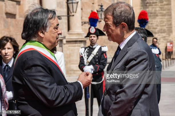 The President of the Sicilian Region Nello Musumeci talk with the mayor of Palermo Leoluca Orlando at the Norman Palace seat of the Sicilian Regional...