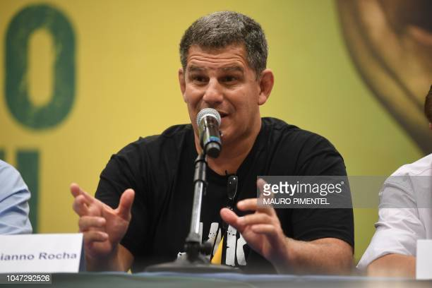 The president of the Social Liberal Party Gustavo Bebianno Rocha delivers a press conference as PSL presidential candidate Jair Bolsonaro didn't show...