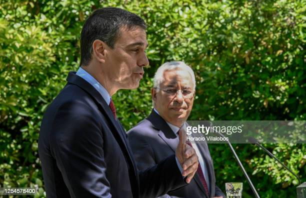 The President of the Spanish Government, Pedro Sánchez , and Portuguese Prime Minister Antonio Costa deliver statements to the press during their...