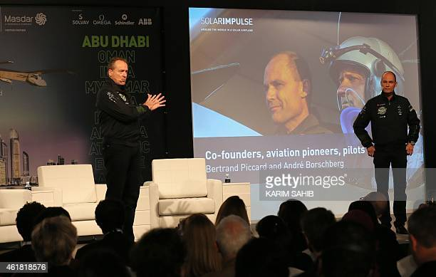 The president of the Swiss sunpowered aircraft Solar Impulse project Bertrand Piccard and pilot Andre Borschber give a press conference on January 20...