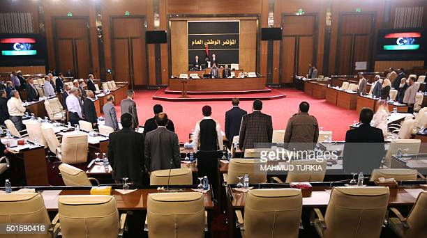 The president of the Tripolibased General National Congress which is not recognised internationally Nuri Abu Sahmein leads a parliament session in...