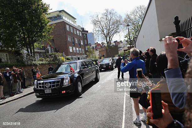 The President of The United States, Barack Obama, arrives in his motorcade ahead of 'Town Hall' discussion with British youth at the Royal...