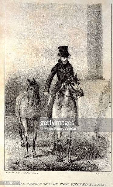 The President of the United States by Hervieu Auguste circa 1829 Lithograph showing President Andrew Jackson on horseback leading another horse...