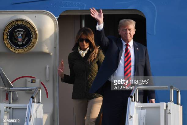 The President of the United States Donald Trump and First Lady Melania Trump arrive at Glasgow Prestwick Airport on July 13 2018 in Glasgow Scotland