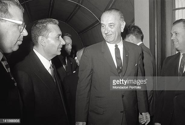 The President of the United States Lyndon Johnson smiling with the Italian Prime Minister Aldo Moro Washington April 1965