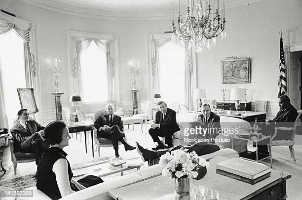 The President of the United States Lyndon Johnson talking to the editors of some of the United States' most important newspapers inside the White...