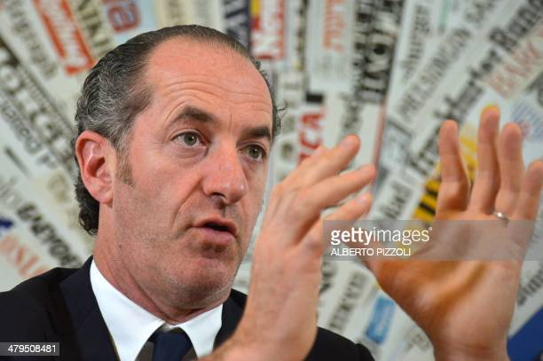The president of the Veneto region Luca Zaia gives a press conference on the vote for the independence of the region on March 19 2014 in Rome...