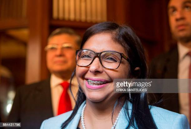 The President of the Venezuelan Constituent Assembly Delcy Rodriguez talks to the press at the Dominican Foreign Ministry in Santo Domingo before...