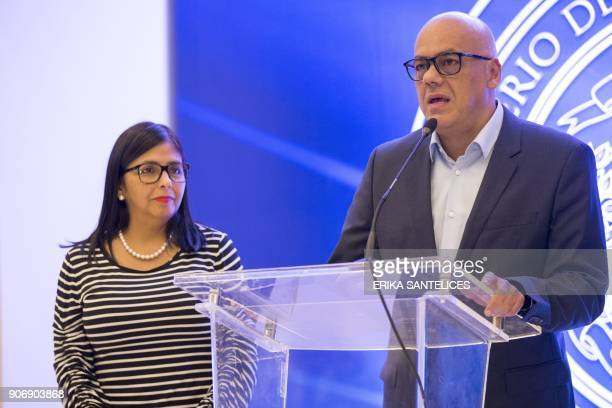 the president of the Venezuelan Constituent Assembly Delcy Rodriguez and the mayor of Libertador municipality in Caracas and the leader of the...