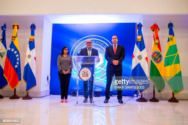 The president of the Venezuelan Constituent Assembly Delcy Rodriguez the mayor of Libertador municipality in Caracas and the leader of the...