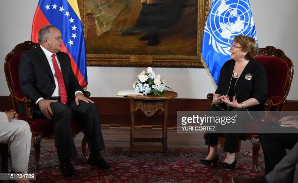 The president of the Venezuelan Constituent Assembly Diosdado Cabello meets with UN High Commissioner for Human Rights Chilean Michelle Bachelet in...