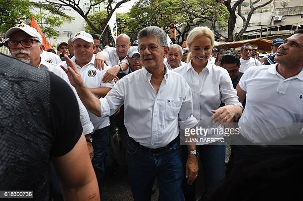 The president of the Venezuelan National Assembly, Henry Ramos Allup , accompanied by his wife Diana D'Agostino, marches against the government of...