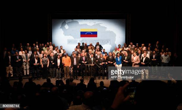 The president of the Venezuelan National Assembly Julio Borges is pictured during a meeting with different sectors of the civil society in which he...