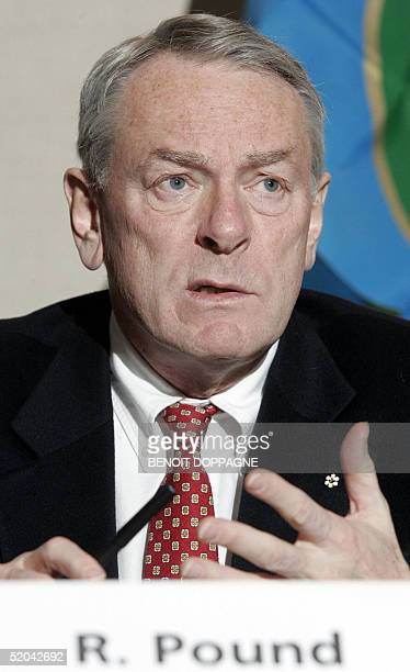 The president of the World Anti-Doping Agency, Richard Pound, talks to the press at the UCL university 21 January 2005 in Louvain-la-Neuve, Belgium....