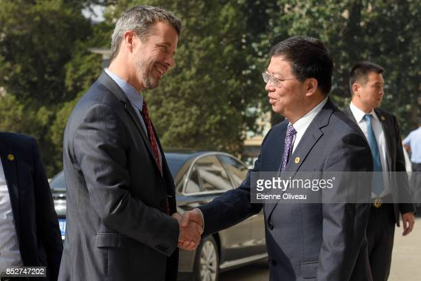 The President of Tsinghua University, Professor Qiu Yong welcomes Crown Prince Frederik of Denmark to attend the Opening of the Sino-Danish...