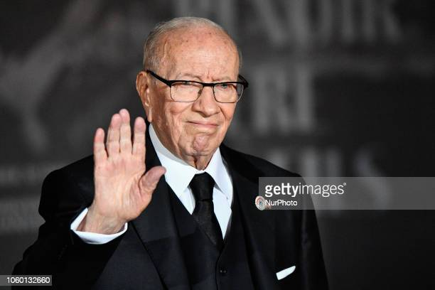The President of Tunisia Beji Caid el Sebsiat the International Ceremony of the Centenary of the Armistice of 1918 dinner at the Musée d'Orsay by the...