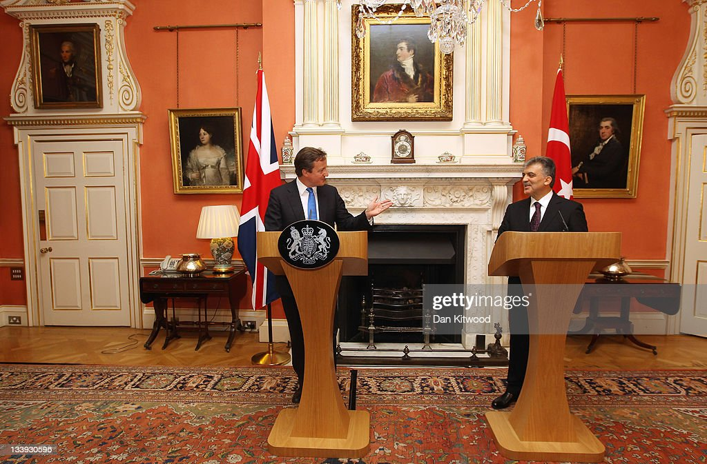 The President of Turkey Abdullah Gul and British Prime Minister David Cameron speak during a press conference at Downing Street on November 22, 2011 in London, England. President Abdullah is on a three day state visit to the UK and was formally welcomed by Queen Elizabeth and The Duke of Edinburgh today.