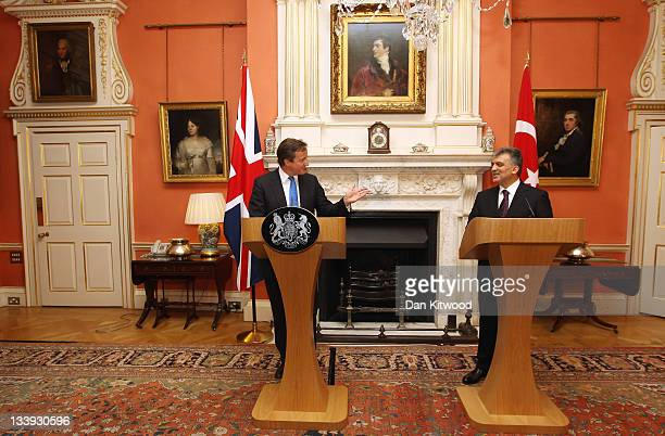 The President of Turkey Abdullah Gul and British Prime Minister David Cameron speak during a press conference at Downing Street on November 22 2011...