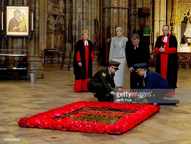 The President of Turkey Abdullah Gul watched by his wife Hayrunnnisa Gul lays a wreath at the tomb of the unknown soldier in Westminster Abbey on...