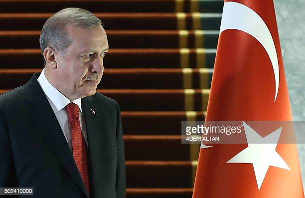 The President of Turkey Recep Tayyip Erdogan arrives to welcome the President of Afghanistan Ashraf Ghani during an official ceremony at Presidential...