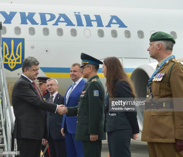 The President of Ukraine Petro Poroshenko arrives to attend the NATO Summit Wales 2014 which is taking place on 4 and 5 September at the Celtic Manor...