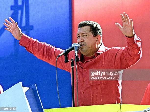 The President of Venezuela Hugo Chavez addresses thousands of supporters gathered at Bolivar Avenue in downtown Caracas 08 August a week before the...