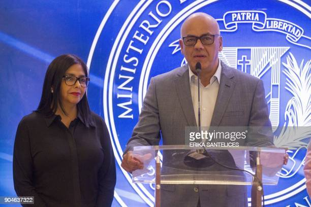 The president of Venezuela's Constituent Assembly Delcy Rodriguez and the leader of the progovernment United Socialist Party of Venezuela Jorge...