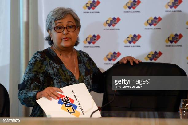 The president of Venezuela's National Electoral Council Tibisay Lucena arrives at the CNE headquarters in Caracas for the signing of the electoral...