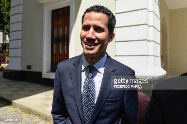 The president of Venezuela's oppositionled National Assembly Juan Guaido arrives for a session at the Federal Legislative Palace in Caracas on...
