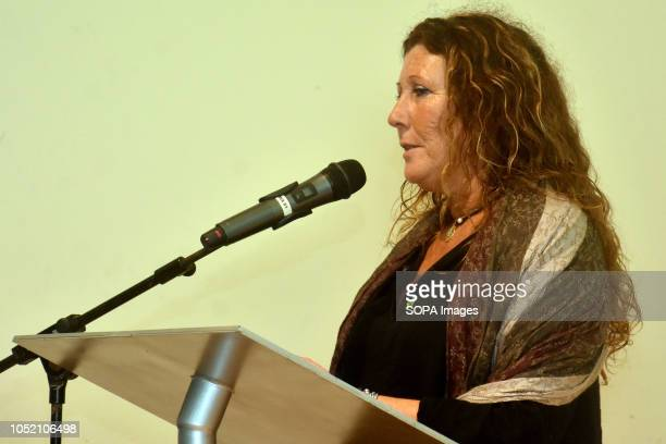 The president of Vos Barcelona Lola Martin seen speaking at the Sant VIcents del Horts during the event The ultraright Spanish political party Vox...