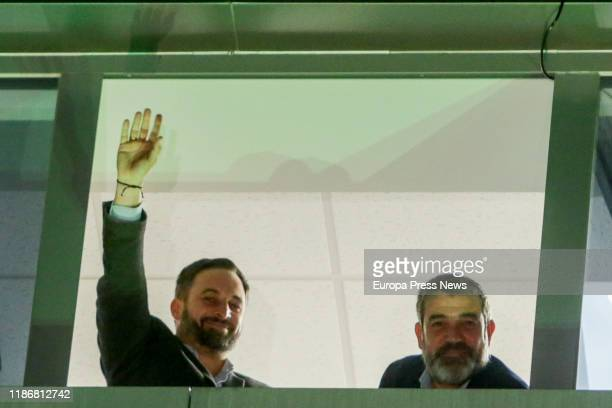 The president of Vox Santiago Abascal and the vice secretary of Vox Enrique Cabanas are seen celebrating the results during the 10N election night...