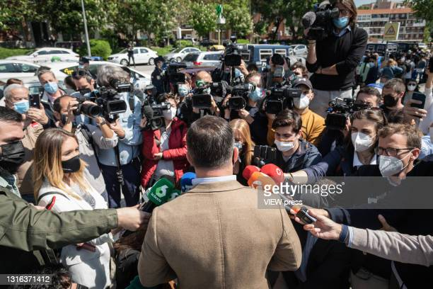The president of VOX, Santiago Abascal, attends the press, at the gates of the Pinar del Rey Public School, where he is going to cast his vote on 4...