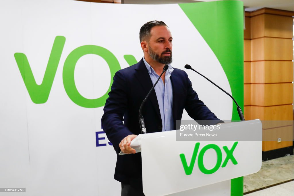 Press Conference Of Santiago Abascal About The Electoral Results Of The 26M : News Photo