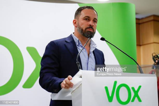 The president of Vox Santiago Abascal talks to the press to analyze the results of the past local regional and European elections and explains his...