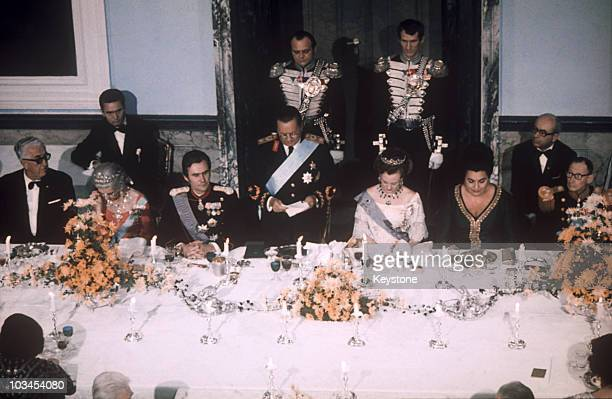 The President of Yugoslavia Josip Broz Tito gives a speech during a state dinner held in his honour by Queen Margrethe of Denmark at the Fredensborg...