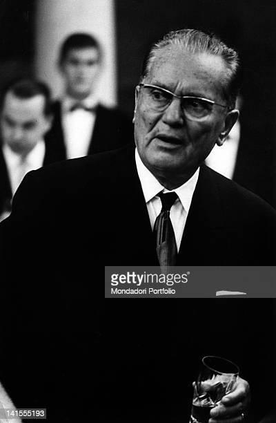The President of Yugoslavia Josip Broz Tito taking part in a reception 1965