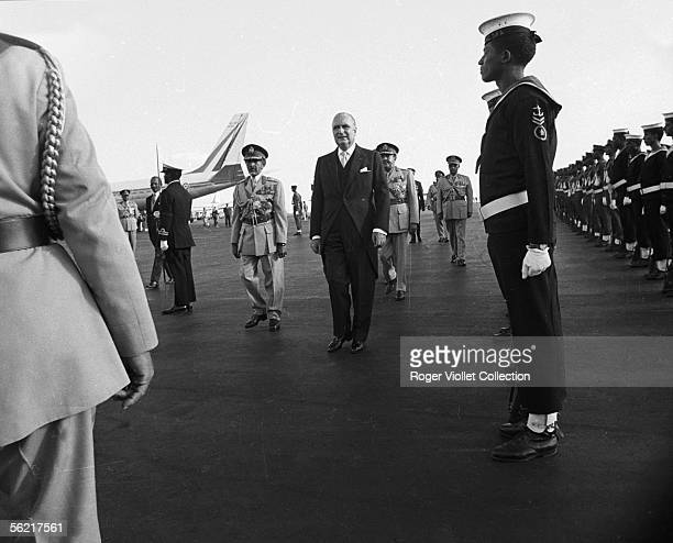 The president Pompidou and Haile Selassie in Addis Ababa January 1973