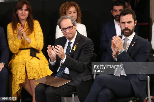 the president Quim Torra and Roger Torrent president of the Parliament during the swearingin ceremony of the new Government of the Generalitat of...