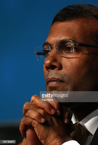 The President The Maldives Mohamed Nasheed looks on during the Concluding Press Conference at the Commonwealth Heads of Government Meeeting on...