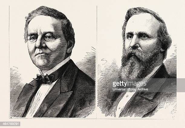 The Presidental Contest In America Samuel Tilden The Democratic Candidate And Rutherford Hayes The Republic Candidate Engraving 1876 Us USA America...