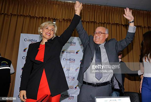 The presidential and vicepresidential candidates for the Social Christian Party and the Madera de Guerrero movement Cynthia Viteri and Mauricio Pozo...