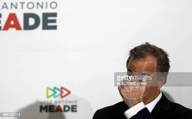 The presidential candidate for Todos por Mexico coalition Jose Antonio Meade gestures during a news conference at the Institutional Revolutionary...